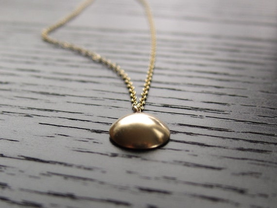 Gold Disc Necklace - Single, Simple Dome Pendant
