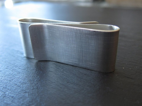 Double Money Clip in Recycled Sterling Silver Brushed Modern Finish