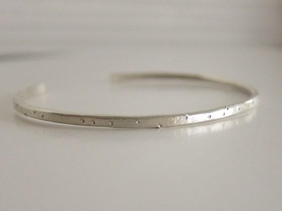 Silver Cuff Bracelet - Shimmer Texture Silver Cuff - Cuff Bracelet in Recycled Sterling - Shimmer Texture - Silver Stacking Bracelet