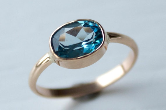 Size 5.25 Swiss Blue Topaz Ring in Recycled 14k Gold