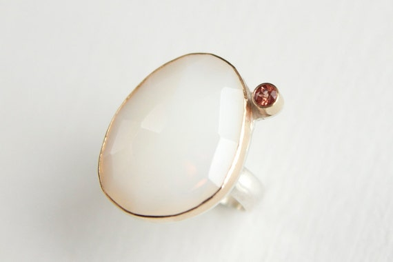 White Opal and Oregon Sunstone Ring in Recycled 14k Gold and Sterling Silver