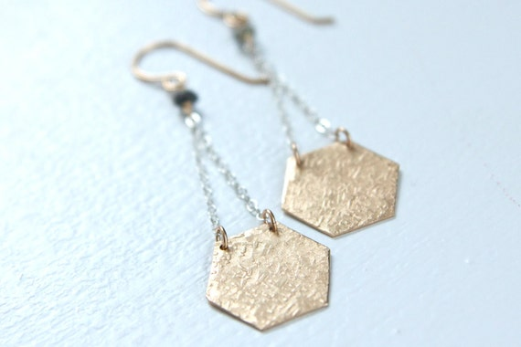 Textured Hexagon Earrings with Diamonds in Silver and Gold