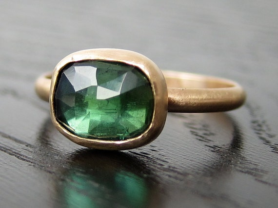 SALE - Green Tourmaline Ring in Recycled 14k Gold Rose Cut Kelly Green Gemstone Free Form - size 6.75 ready to ship