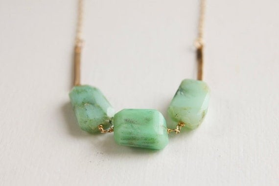 Chrysoprase Nugget Necklace with 14k gold fill bars