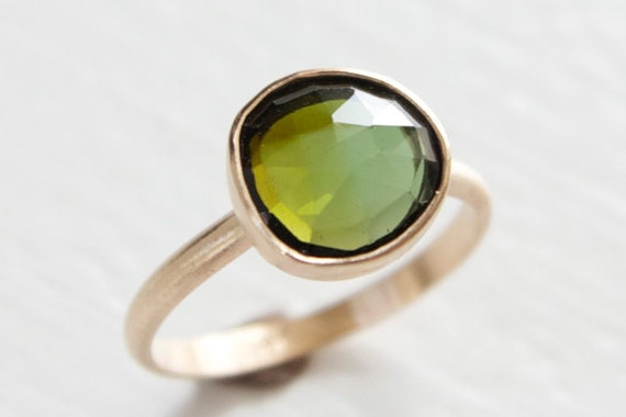 Olive Green Tourmaline Ring in 14k Yellow Gold - Free Form Rose Cut Stone Modern Brushed Finish