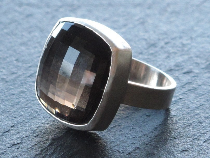 smoky quartz ring in sterling silver by erinjanedesigns on