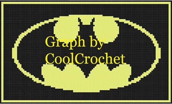 Batman Knitting Chart Pattern : Items similar to Batman 6 CHART Pack to make this blanket in 2 sizes For Croc...