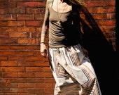 Vintage Boho Printed Maxi Skirt~Striped Skirt~White Maxi Skirt~Long Skirt~Elastic Waist~Summer Skirt~Maternity Skirt~Plus Size Skirt~Eco