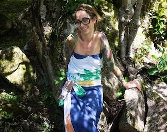 Vintage Strapless Drop Waist Maxi Dress~Summer Dress~Long Dress~Floor Length Dress~Beach Dress~Eco Dress~Navy Blue Dress~Retro Dress~Belted