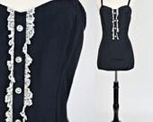 SALE 1950s Lolita Black Bathing Suit Swimsuit M