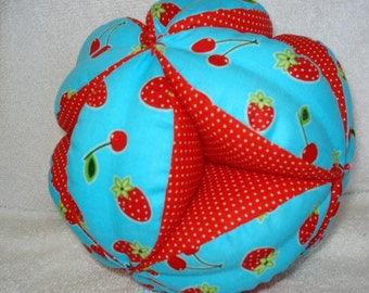 Strawberry and Cherry Dot Easy-Catch Baby/Toddler Clutch Ball