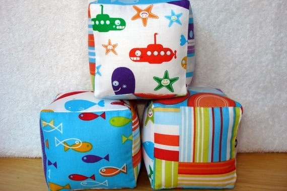 Snorkel by Cosmo Cricket--Soft and Cuddly Fabric Jingle Baby Blocks