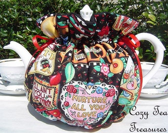 Tea Cozy for 6-8 Cup Teapot MARY ENGELBREIT TeaTime Reversible, Insulated Tea Pot Tea Cozy Cosy Also Available in 1-2 Cup and 2-4 Cup Sizest