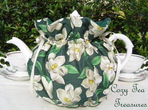Tea Cozy for 6-8 Cup Teapot MAGNOLIA BLOSSOMS Reversible, Insulated Tea Pot Tea Cozy Cosy Also Available in 1-2 Cup and 2-4 Cup Sizes