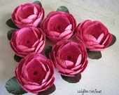 Buttercup Paper Roses / Paper Flowers - Vintage & Shabby Chic (6) Handmade
