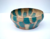 Midcentury Modern Pottery Bowl:  Blue, Brown and Beige, Vintage 1960's