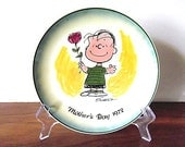 """RESERVED FOR KATY - Vintage """"Peanuts"""" Mother's Day 1972 Plate:  Charlie Brown"""