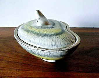 Vintage West German Bay Keramik Covered Bowl, Yellow and Gray