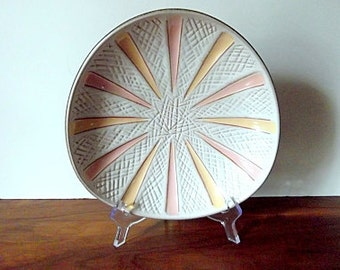 "Modernist Carstens Tonnieshof West German Pottery ""Starburst"" Plate, Peach, Yellow"