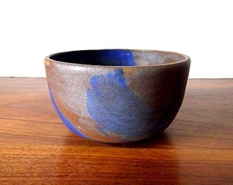 Modernist Signed Studio Pottery Bowl, Blue, Brown, Taupe