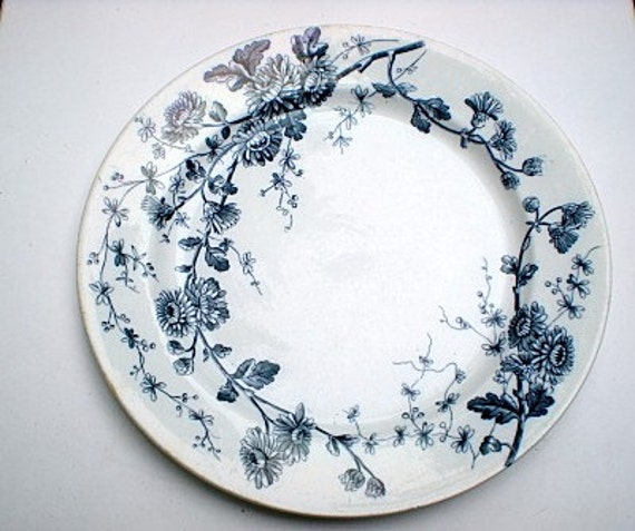 Vintage W.H. Grindley Blue and White Plate, Spring Pattern