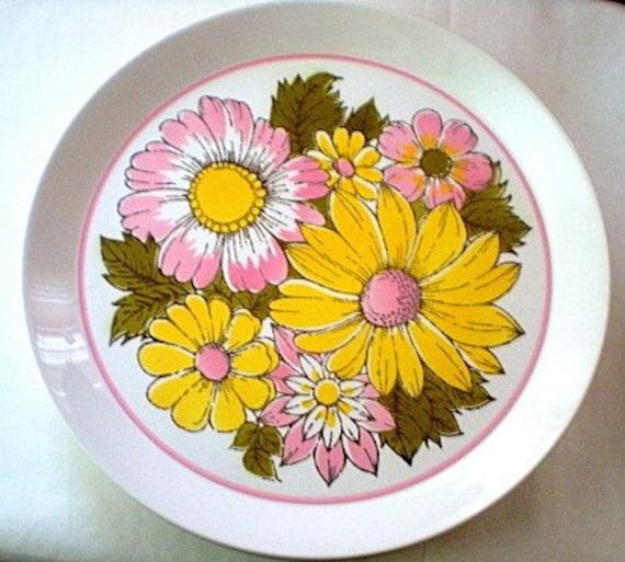 "Vintage Mikasa Plates Set, Ben Seibel, Duplex ""Eden"", Mod Foral, Yellow, Pink, Green"