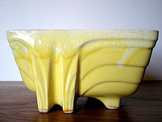 Vintage Cookson Pottery Planter Yellow And White