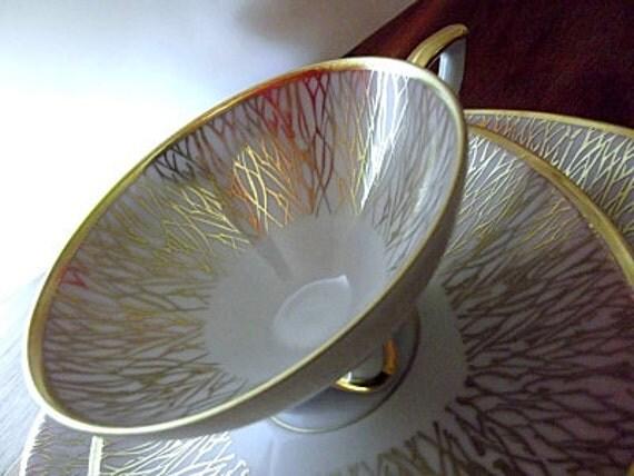 Vintage Mitterteich Porcelain Cup, Saucer, Dessert Plate, Pink, Lavender, Gold