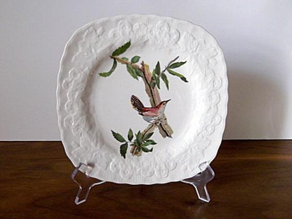 "Vintage English Ceramic Bird Plate, ""Bewick's Wren"", Alfred Meakin, Audubon"