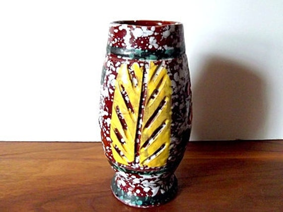 Midcentury Modern Italian Vimax Art Pottery Sgraffito Vase, Leaf, Brown, Speckled, Yellow, Green, Orange