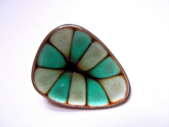 Vintage Hogan Bolas Green Enamel Brooch, Pin