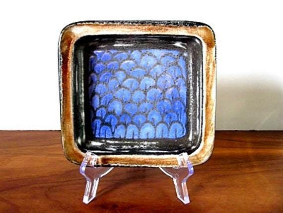 Vintage Mari Simmulson Upsala Ekeby Swedish Art Pottery Dish, Blue, Brown, Midcentury Modern