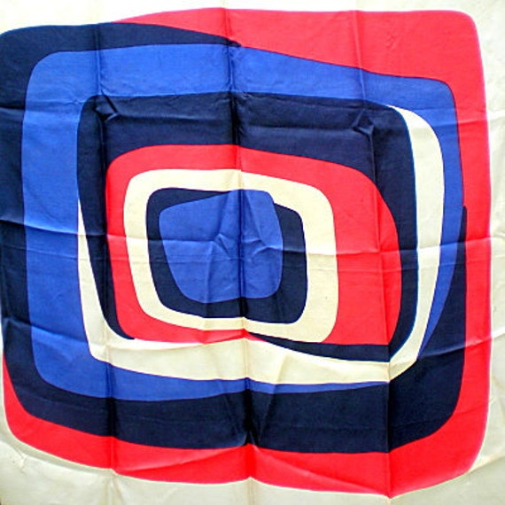 Vintage Silk Mod Retro Scarf, Red, White and Blue Op Art Pattern