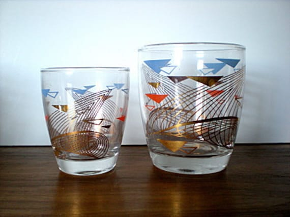 Vintage Anchor Hocking Glasses, Midcentury, Retro, Juice, Rocks, Swanky Swigs