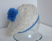 Pom pom Beret - White and Blue 3-6 mo.
