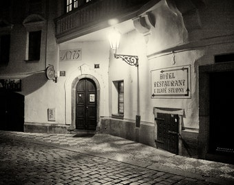 Streets of Prague #3, Prague Print, Czech Republic, Black and White Digital Print, Hotel Art Print, Cobblestone Street Print,Night in Prague