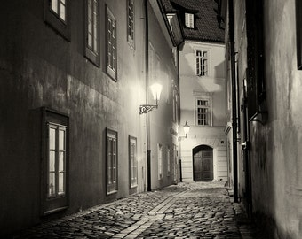 Streets of  Prague #2, Prague Print, Czech Republic, Cobblestone Street, Night Photo, City Street, Urban Art, Black and White Photography