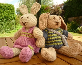 Toy Knitting Pattern, Rabbit Knitting Pattern, Knit Bunny Pattern, PDF Knitting Pattern for dressed rabbits - ROBERT and ROSIE