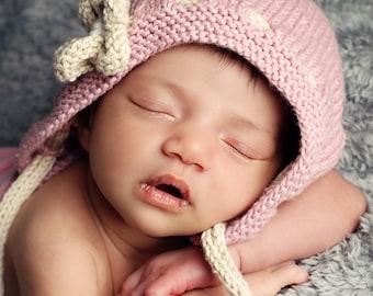 Baby Hat Knitting Pattern, PDF Knitting  Pattern, Vintage Baby Knit, Baby Girl Hat PDF, Knit Baby Hat Pattern, Vintage Baby Hat pdf - ERIN