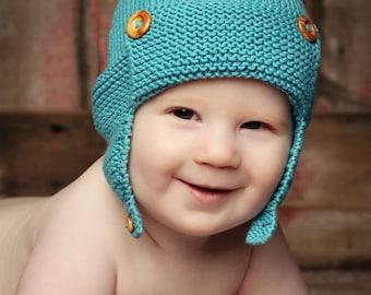 Baby Aviator Hat Knitting Pattern WRIGHT FLYER