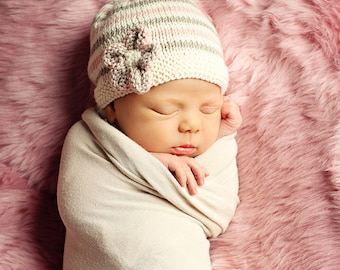 Knitting Pattern, Baby Girl Hat Pattern, Baby Hat Pattern, Beanie Hat Pattern, Instant Download PDF Pattern, Easy Beanie Pattern,  EMILIE
