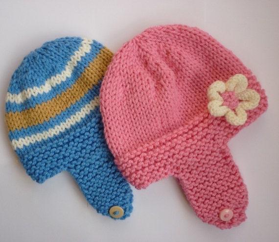 Earflap baby hat knitting pattern in chunky weight yarn