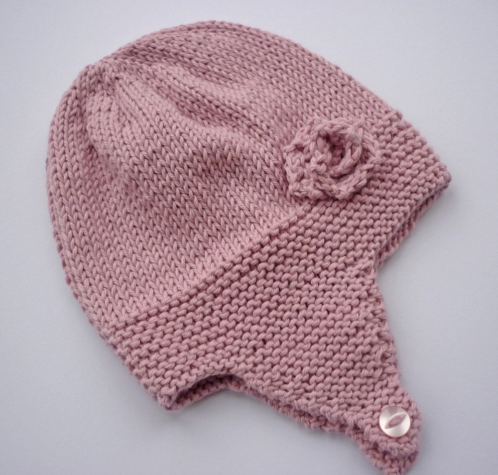Knitted Baby Beanies Free Patterns : Knitting Pattern Baby Earflap Hat with rose flower by ...