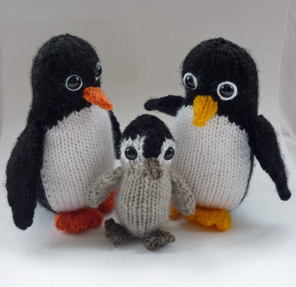 Knitting Pattern For Penguin : Amigurumi Pattern Knitted Penguin Family pdf by LoveFibres