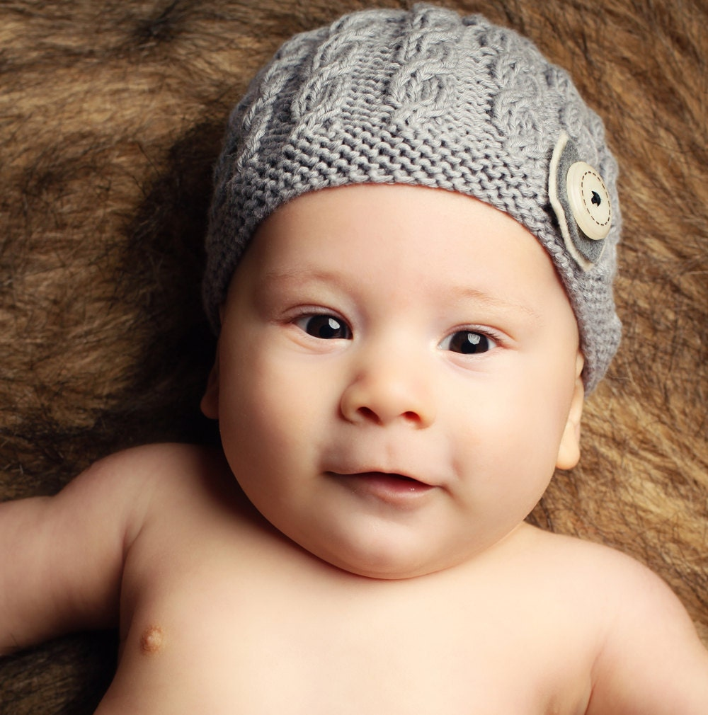 Knitting Patterns Baby Cable Hats : Baby Hat Knitting Pattern with cable design HARPER by LoveFibres