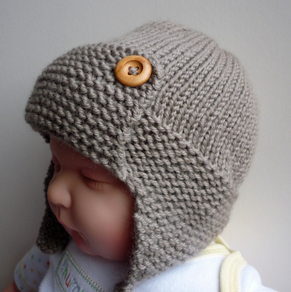 Aviator Hat Knitting Pattern : PDF Knitting Pattern Aviator Hat Baby to Child sizes by LoveFibres