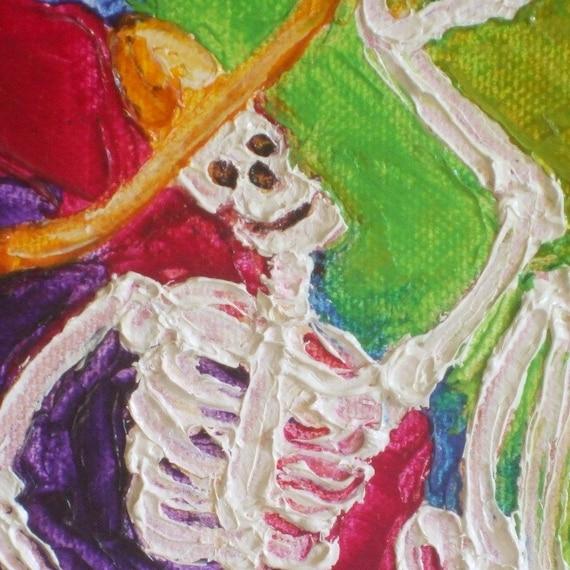 Isn't It Chilly (Dia De Los Muertos Skeleton) Oil Painting by Paris Wyatt Llanso