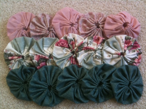 15 fabric yoyo flower, scrapbook embellishment in Pink, white, teal, kids project, 4 fabrics, 2 inch