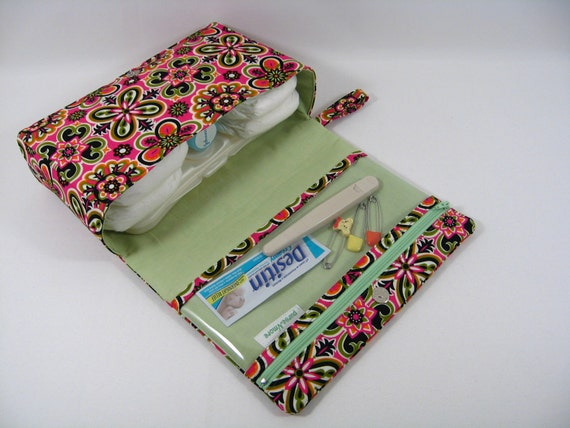 Diaper Clutch with clear zipper pouch-- Hot Blossom Kaleidoscope Sunset