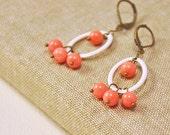 Enamel Earrnigs -  White oval enamel hoop earrings and coral beads - coral earrings -holiday jewelry